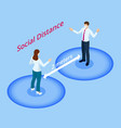 isometric maintain a social distance 2 m vector image