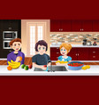 kids washing fruits vector image