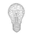 light bulb from polygonal black lines and dots vector image