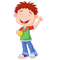 Little boy cartoon celebrates his golden medal vector image