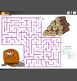 maze educational game with beaver and wood logs vector image