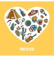 Mexico Colored Doodles Collection vector image vector image