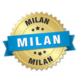 Milan round golden badge with blue ribbon vector image vector image