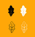 oak leaf black and white set icon vector image vector image
