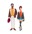 pair of stylish hipsters young man and woman vector image vector image