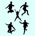 people jumping silhouette 01 vector image vector image