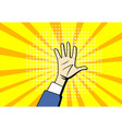 pop art raised hands up at center background vector image