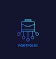 portfolio icon in linear style vector image vector image
