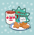 postcard merry christmas with mug hot vector image