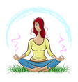 red-haired girl doing yoga and meditating vector image vector image