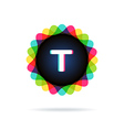 Retro bright colors Logotype Letter T vector image