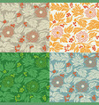 seamless floral pattern 3 in 4 color variations vector image vector image
