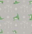 seamless pattern funny cartoon crocodile palm vector image vector image