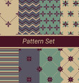 Set of 8 simple floral and geometrical patterns vector image vector image