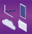 set of data center icons vector image