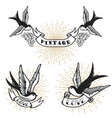 set of retro style tattoo with swallow bird vector image vector image