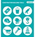 set of round icons white Construction Building vector image vector image