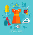 sewing a dress concept vector image vector image