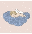 Sleeping angel on cloud vector image