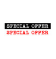 special offer rubber stamp badge with typewriter vector image
