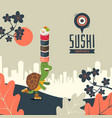 sushi delivery banner vector image vector image