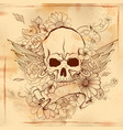 vintge style grungy skull print retro background vector image vector image