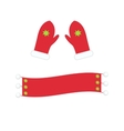 Winter warm mittens and scarf in flat style vector image vector image