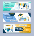yard sale web banner template set vector image vector image