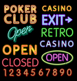 Cartoon of various neon light signage and design vector image