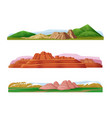 cartoon colorful mountain landscapes set vector image