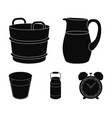 a can a glass a jug a tub moloko set vector image