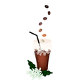 A Delicious Iced Coffee with Beans and Flower vector image vector image