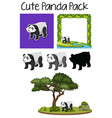 a pack of cute panda vector image vector image