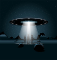 Aliens on a planet a flying unidentified ship with vector image vector image