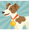 Background with dog champion winning gold medal vector image vector image