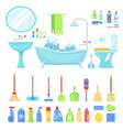 bathroom furniture and tools vector image vector image