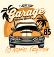 beach shirt design classic american muscle car vector image vector image