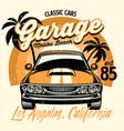 beach shirt design classic american muscle car vector image