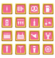 beer icons pink vector image vector image