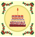 Birthday cake with one candle vector image vector image