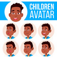 boy avatar set kid afro american black vector image