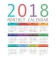 calendar 2018 year simple style vector image vector image
