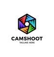 camera shutter hexagon rainbow colors logo design vector image vector image