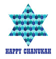 chanukah star with dreidel pattern vector image