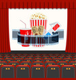 cinema auditorium with seats and popcorn vector image