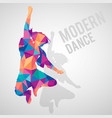 colorful polygonal silhouette jumping girl vector image