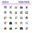 coronavirus prevention set icons 25 flat color vector image vector image