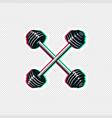 crossed barbell sticker design vector image