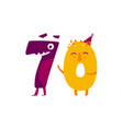 cute animallike character number seventy 70 vector image vector image