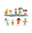 cute smiling little kids playing on puddles set vector image vector image